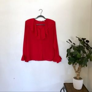 3/$30 Vintage Ruffled Collar and Sleeve Blouse